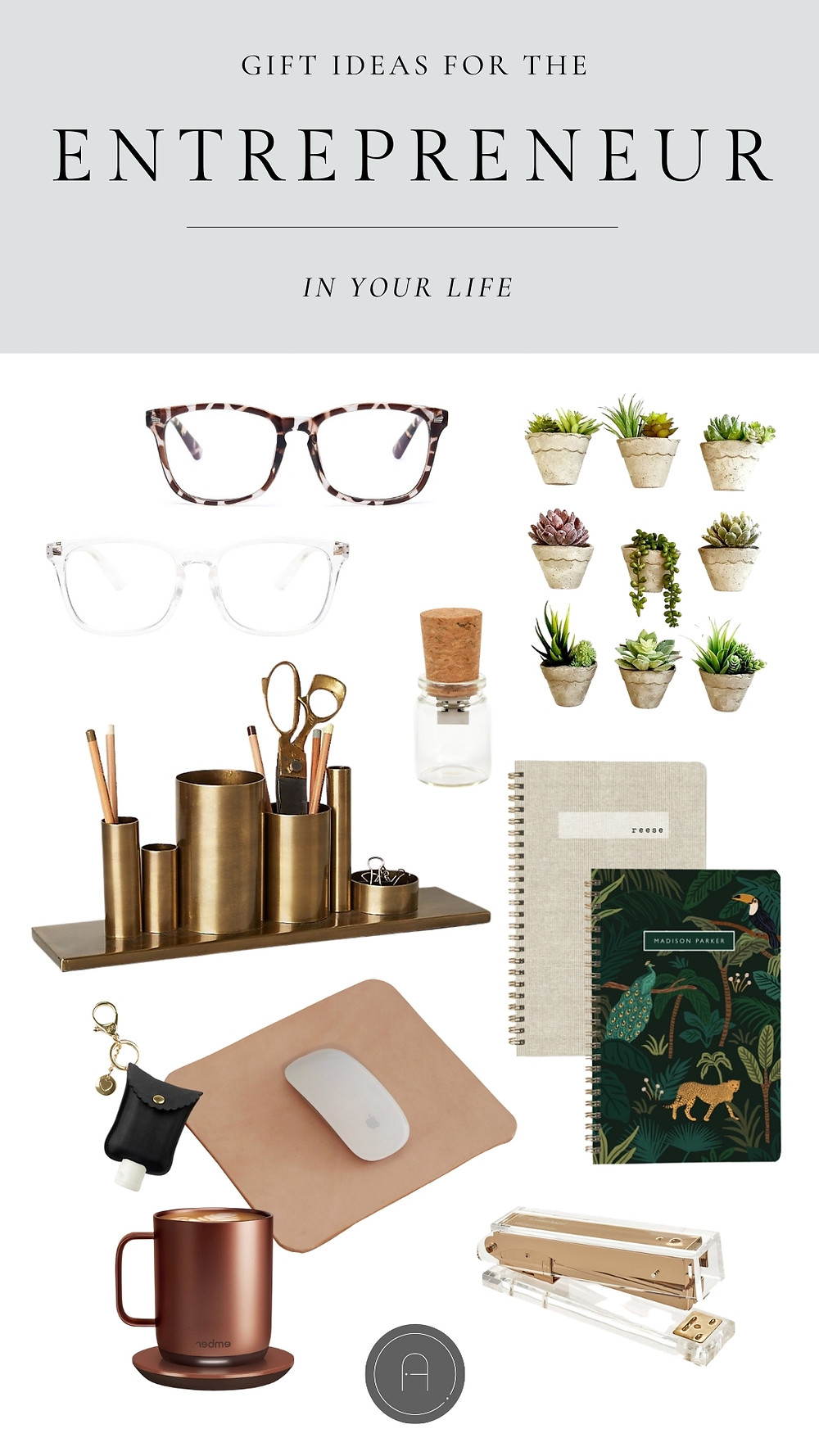 Clever catchy thoughtful gift ideas blue light glasses usb cork pencil holder leather mouse pad bluetooth mouse brass stapler heated mug hand sanitizer keychain notebook golden coil plant magnets fridge magnets cute holiday shopping get the look