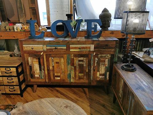 """Buffet en bois recyclé  L63""""x P16"""" H40"""", appelez au magasin pour la photo"""