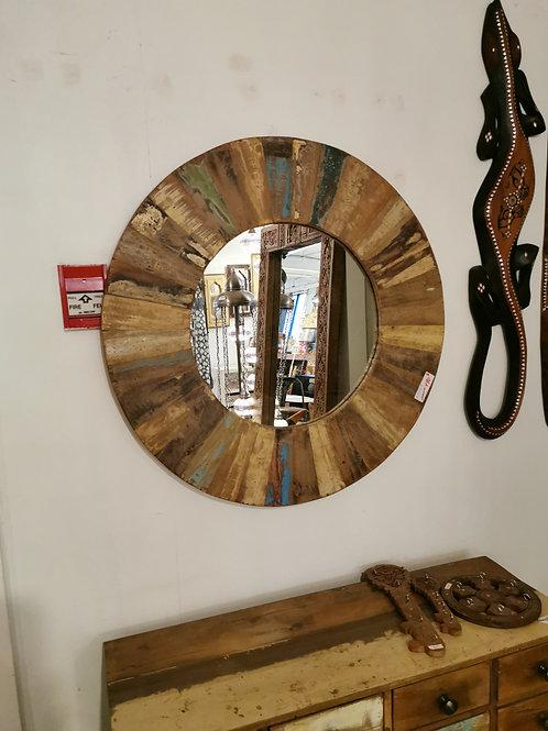 """Miroir rond en bois recyclé, diam.30"""""""