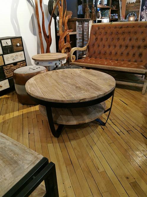 """Table à café bois et métal    diam36"""" H18"""""""