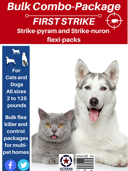 Bulk Combo flea killer and control for all pets 3 ans 6 gram packages