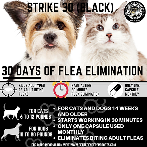 Strike 30 flea killer for pets 6 to 20 pounds, 60 capsule count