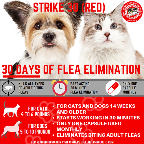 Strike 30- 30 day flea killer for small pets under 6 lbs