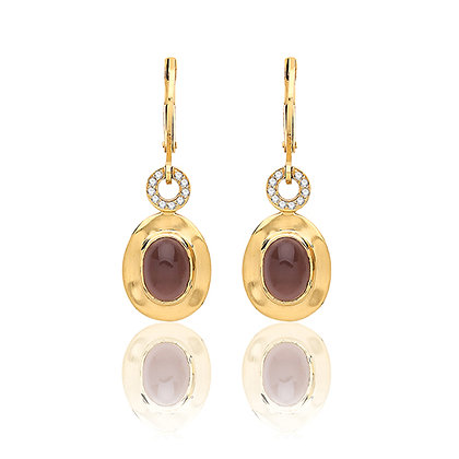 Yellow gold plated smokey quartz and cz earrings