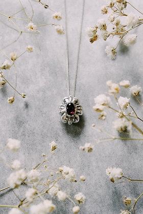Garnet, silver pendant