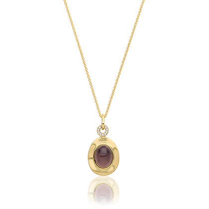 Yellow gold plated smokey quartz and cz pendant
