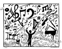 music notes, piano, conductor