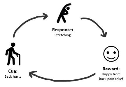 Fig 2: The habit loop for stretching: the cue is back pain, the response to back pain is stretching, and the outcome, or reward, is back pain relief—and thus, happiness.