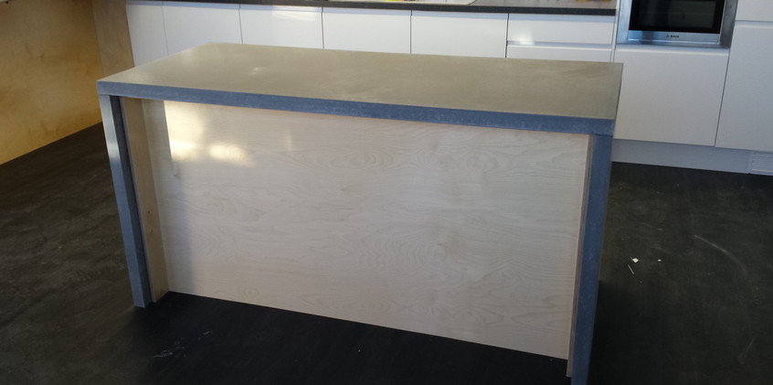 Plywood desk with solid concrete.