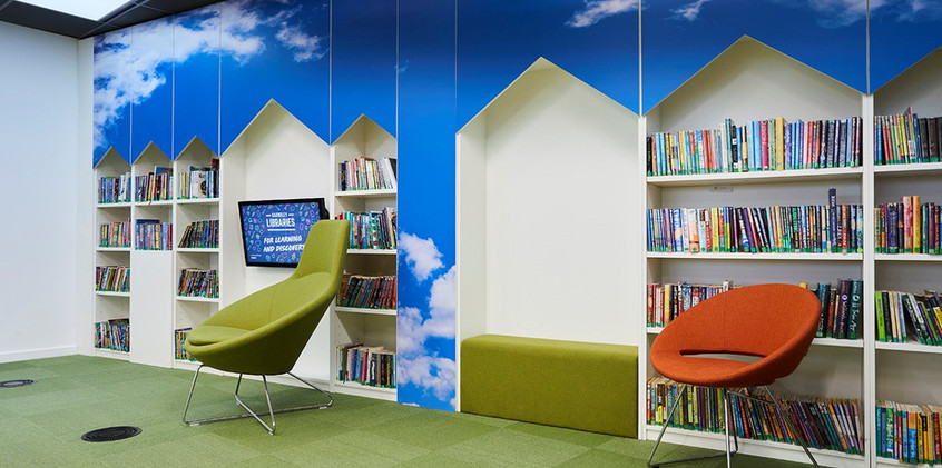 Barnsley Library feature wall.