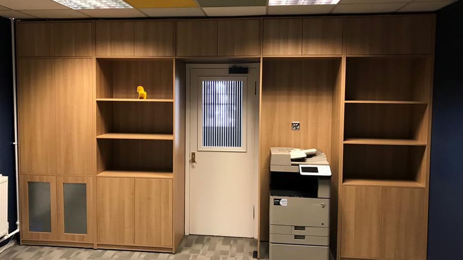 Bespoke office storage.