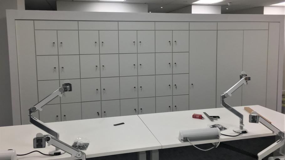 Alcove storage and lockers.