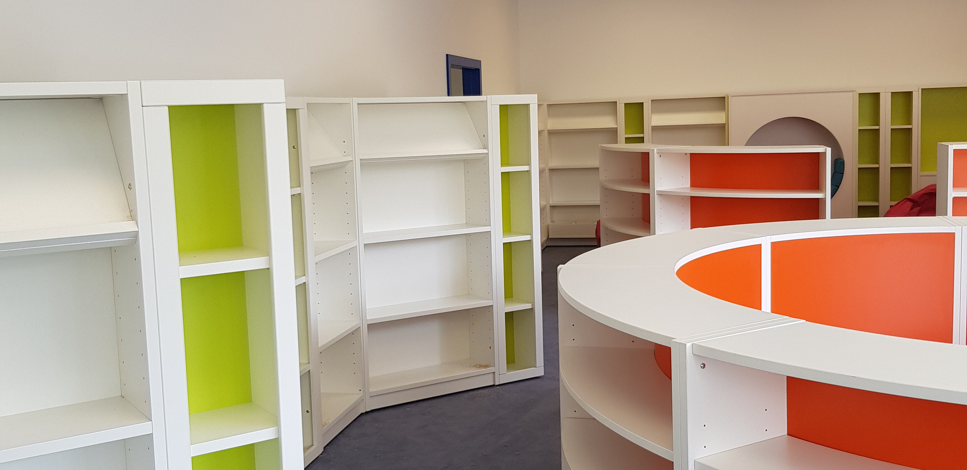 Bespoke curved library shelving.