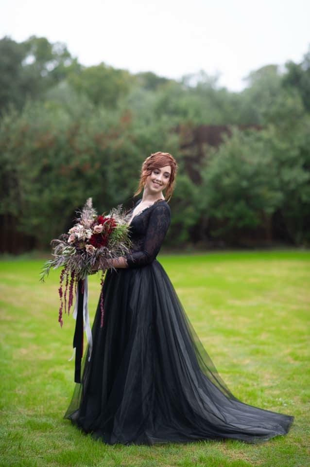 Black wedding gown, gothic wedding gown