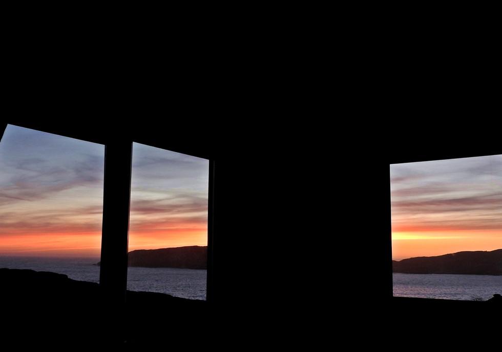 Chalet living room sunset views