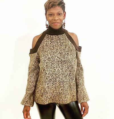 Shoulder Out Brown Leopard Sweater