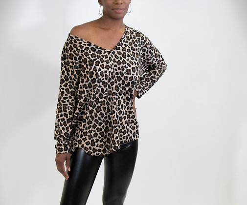Sexy Leopard Print V Neck Top