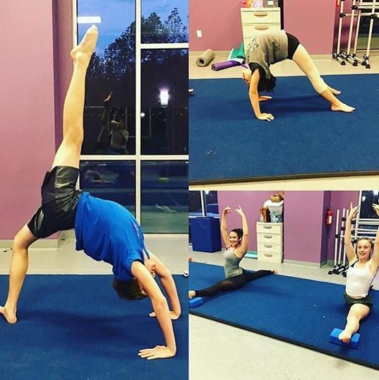 Tumblers workin' hard on their flexibili