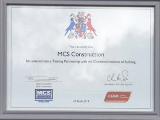 MCS forms training partnership with Chartered Institute of Building (CIOB)