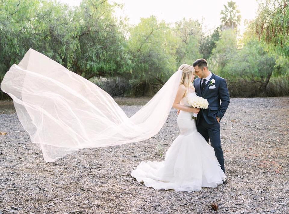 Long Veil at Coto de Caza Outdoor Wedding