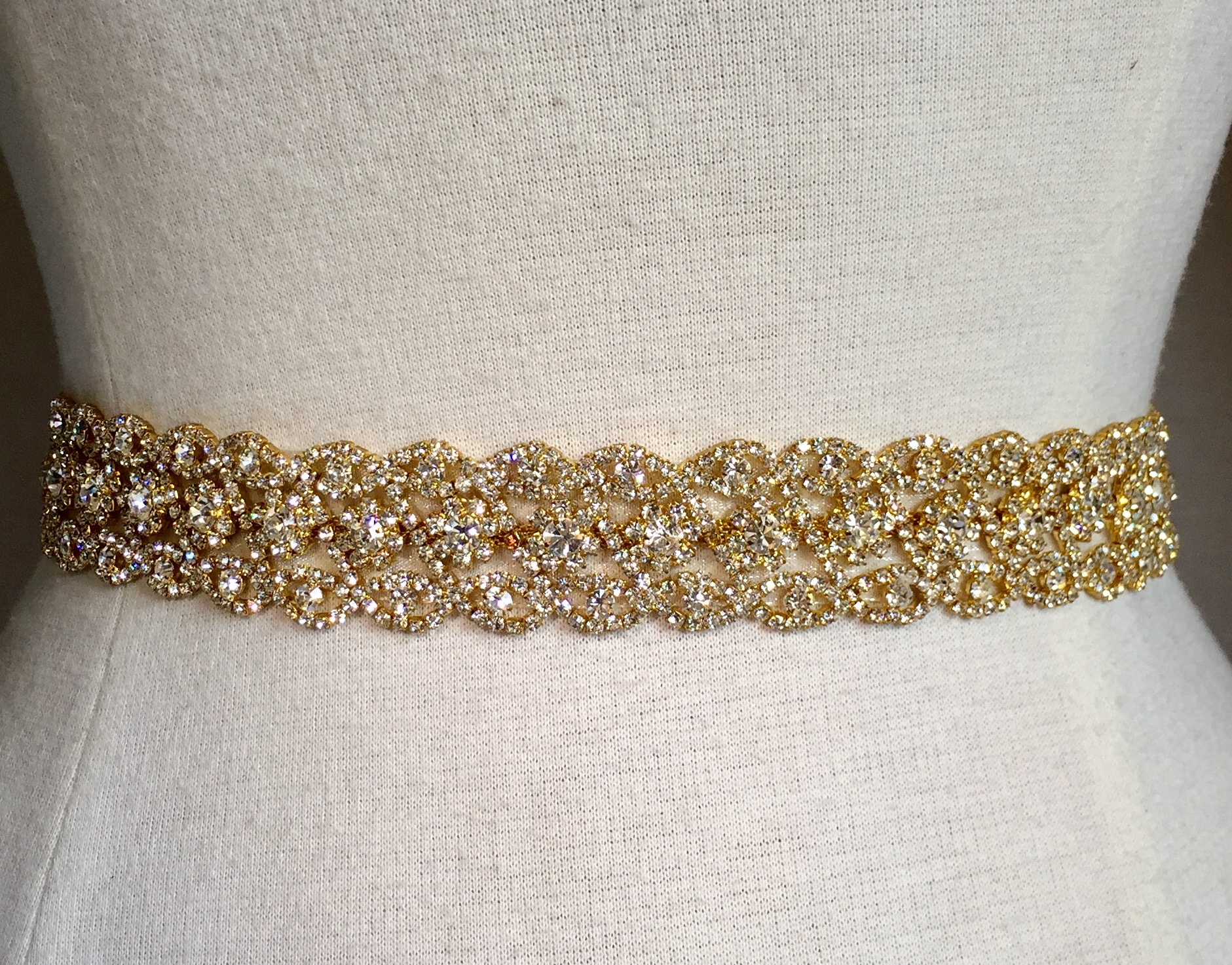 Austrian crystal belt woven with str