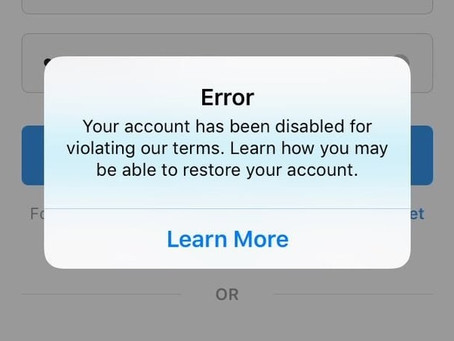 Conta Instagram desativada | Instagram account disabled