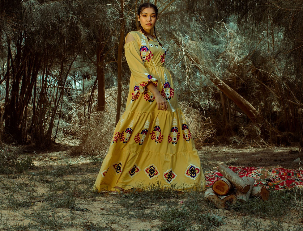 Palermo embroidery dress in yellow