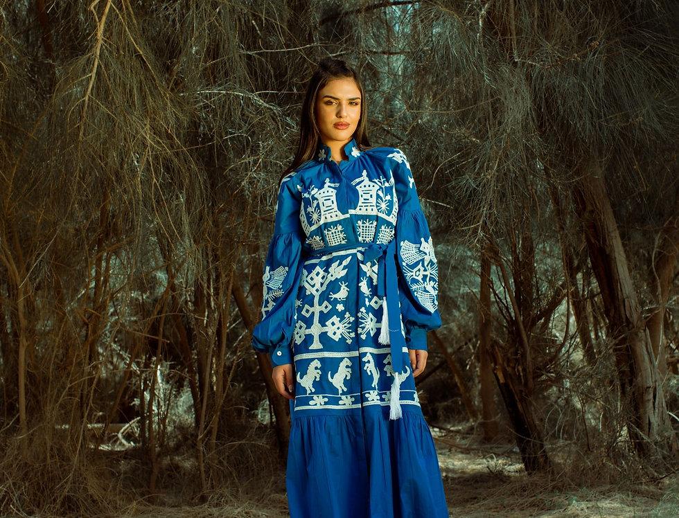 Venice embroidery blue dress