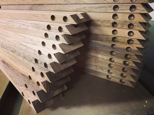 Walnut strips with magnet holes