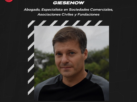 Ameghino suma a Pablo Giesenow al Departamento Jurídico del club