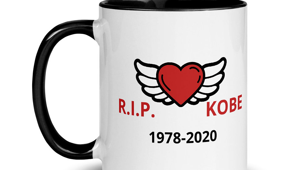 Mug with Color Inside RIP Kobe heart with wings 1978-2020