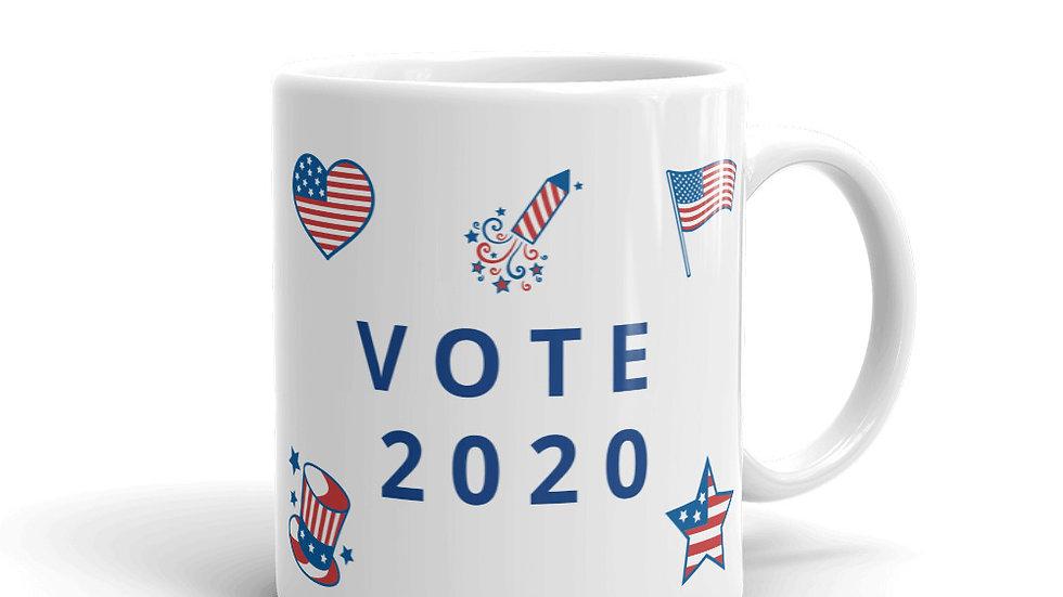 Mug - VOTE 2020 with USA heart, flag, star, rocket, hat