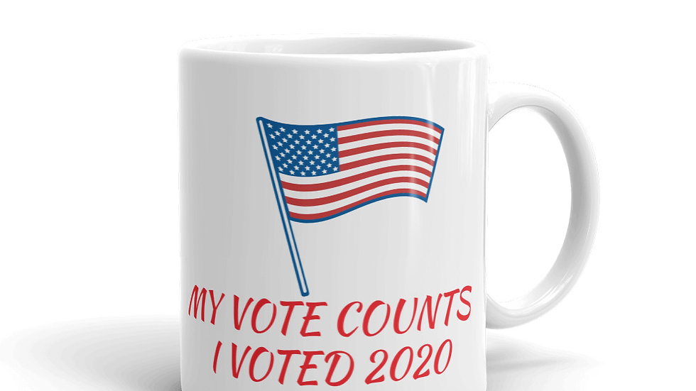 Mug - My Vote Counts, I voted 2020 w/ USA Flag