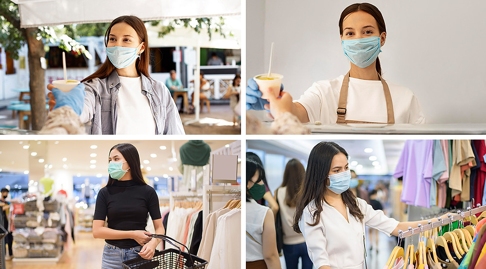 Employees and Customers wearing face masks.