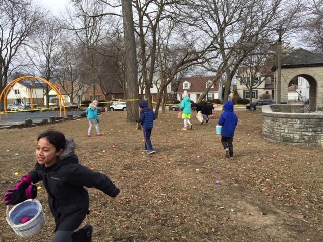Kids enjoying the Easter egg hunt