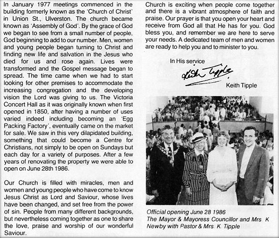 Pastor Keith Tipple Letter