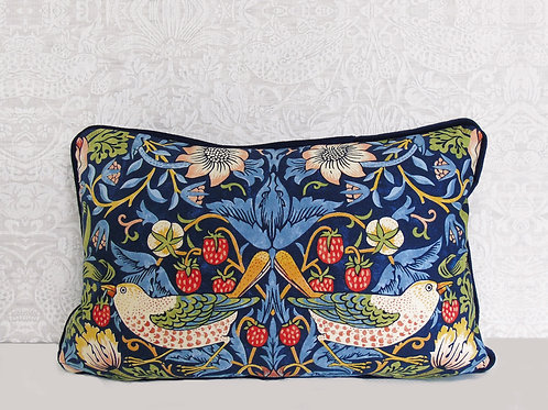 "12"" x 18"" Indigo William Morris Strawberry Thief Cushion"