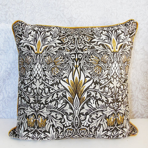 "18"" x 18"" William Morris Snakeshead Pewter/Gold Cushion"