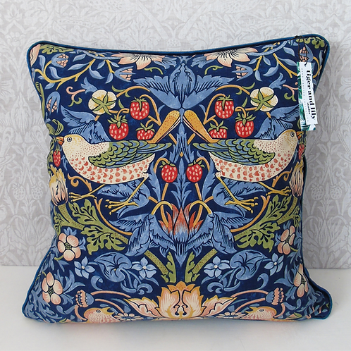 "18"" x 18"" Indigo William Morris Strawberry Thief Cushion"