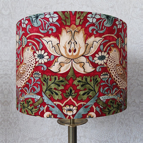 Red William Morris Strawberry Thief Brown Bird Lampshade