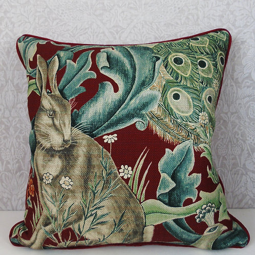 "18"" x 18"" Dark Red William Morris Forest Hare Cushion"