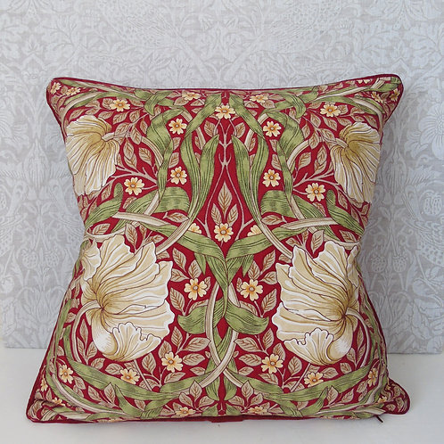 "18"" x 18"" Claret Pimpernel William Morris Printed Cushion"