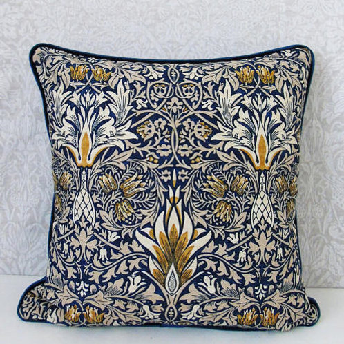 "18"" x 18"" Indigo Snakeshead William Morris Cushion"