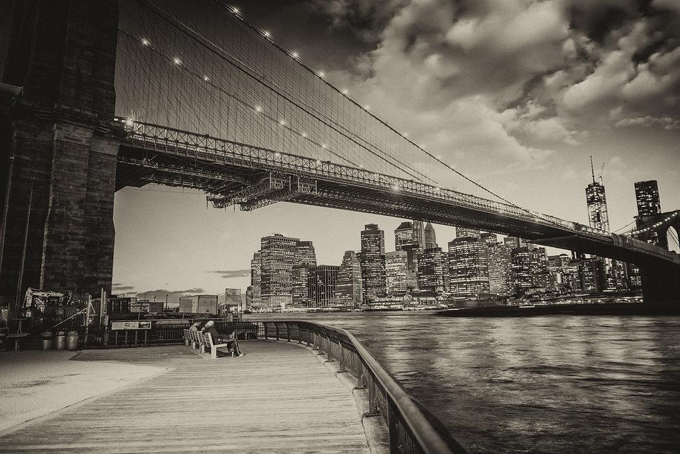 Manhattan skyline with East river reflec