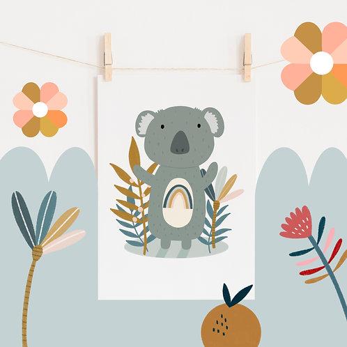 A4 Rainbow Koala Print