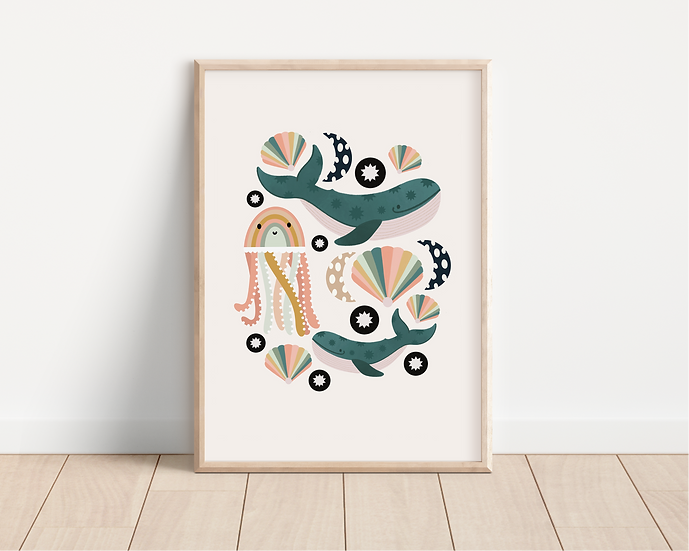 Rainbow Jellyfish A4 print