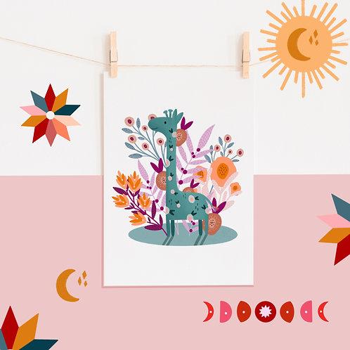 A4 Blue Giraffe Print