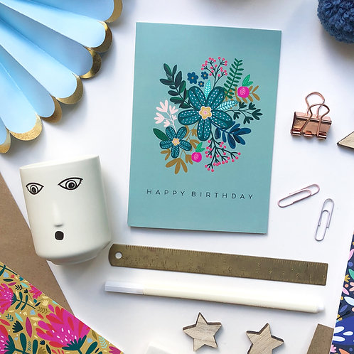 A6 Floral birthday card