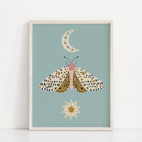 A4 Gold Foil Moth Print