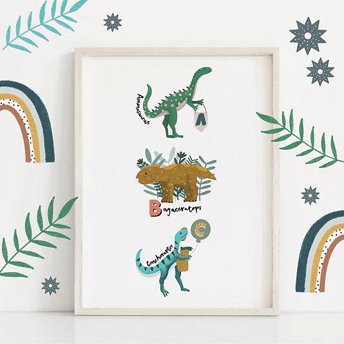A4 ABC Dinosaur Print